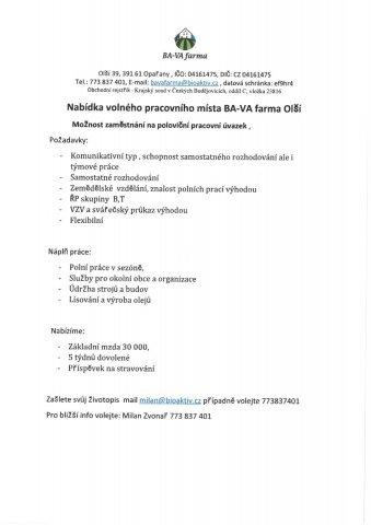 BA-VA farma Olší - nabídka zaměstnání