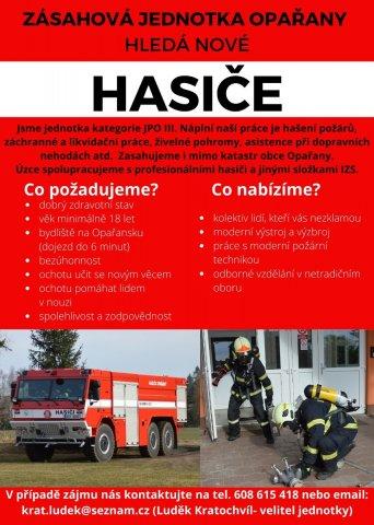 Zásahová jednotka Opařany - nábor hasičů
