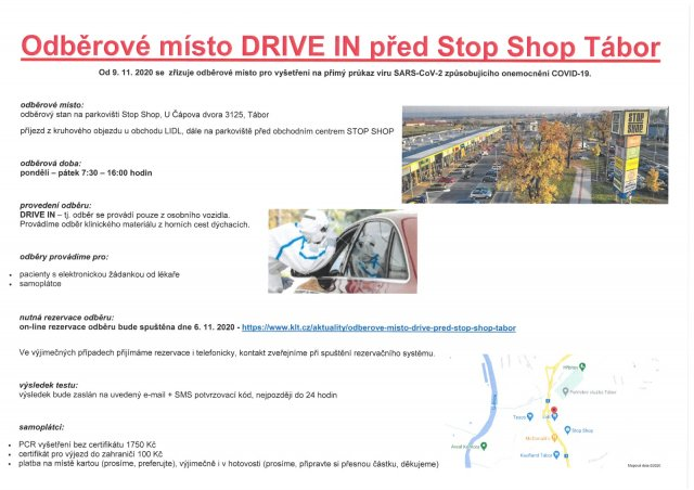 Odběrové místo DRIVE IN před Stop Shop Tábor
