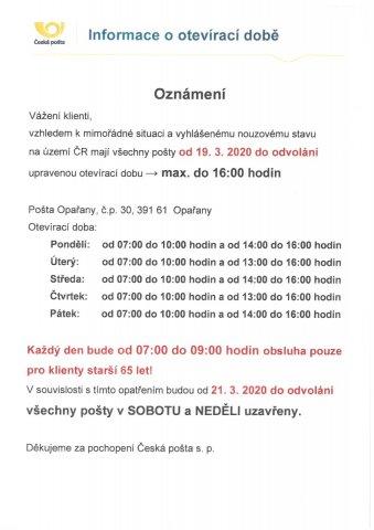 Otevírací doba pobočky České pošty v Opařanech od 21.3.2020