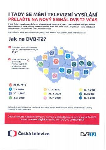 Přechod na DVB-T2 - Jihočeský kraj - 14.7.2020