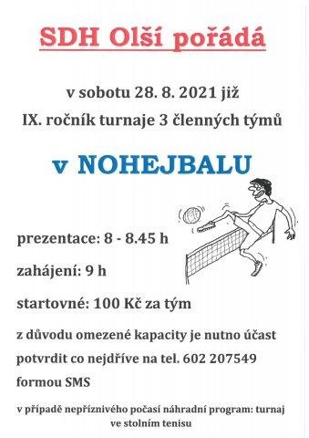 IX. ročník turnaje 3 členných týmů v nohejbalu - Olší - 28. srpna 2021