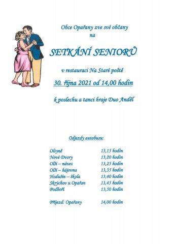 Setkání seniorů obce Opařany - 30. října 2021