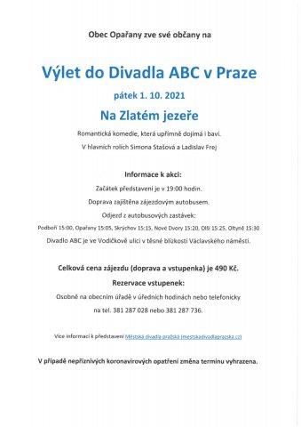 Výlet do divadla ABC v Praze - Na Zlatém jezeře - 1. října 2021